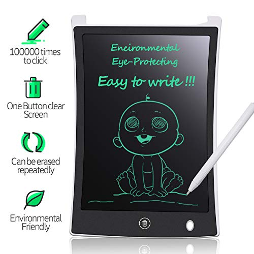 MYMAHDI LCD Writing Tablet, 8.5 inch Doodle Board, Electronic Drawing & Writing Board, with Smart Writing Stylus for Kids Gifts, School,Office, Fridge or Family Memo, White