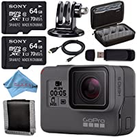 GoPro HERO5 Black CHDHX-501 + Sony 64GB microSDXC + Custom Case for GoPro HERO and generic Accessories + Tripod Adapter For GoPro Bundle