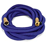 Waterree Tm 75 Feet Expandable Garden Hose - NEW 2017 Super Strong Construction- Strong Webbing -Solid Brass End + 9 Function Spray Nozzle and Shut-off Valve, Blue