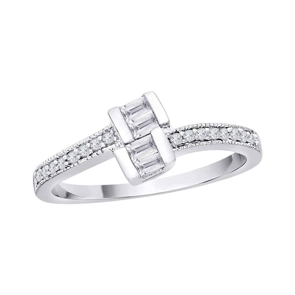 Size-9.75 1//4 cttw, G-H, I2-I3 KATARINA Black and White Diamond Fashion Ring in Sterling Silver