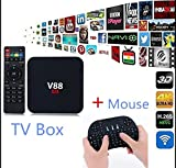Hanbaili US plug TV Box, Android 6.0 RK3229 1GB+8GB Quad Core WiFi Network 4K TV Box with I8 Keyboard For V88