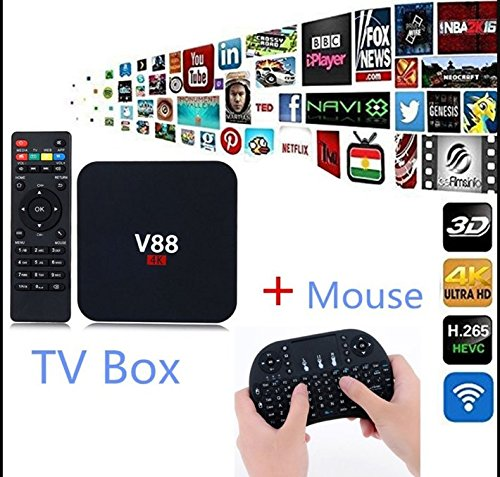 Hanbaili (EU plug)TV Box, Android 6.0 RK3229 1GB+8GB Quad Core WiFi Network 4K TV Box with I8 Keyboard For V88 by Hanbaili