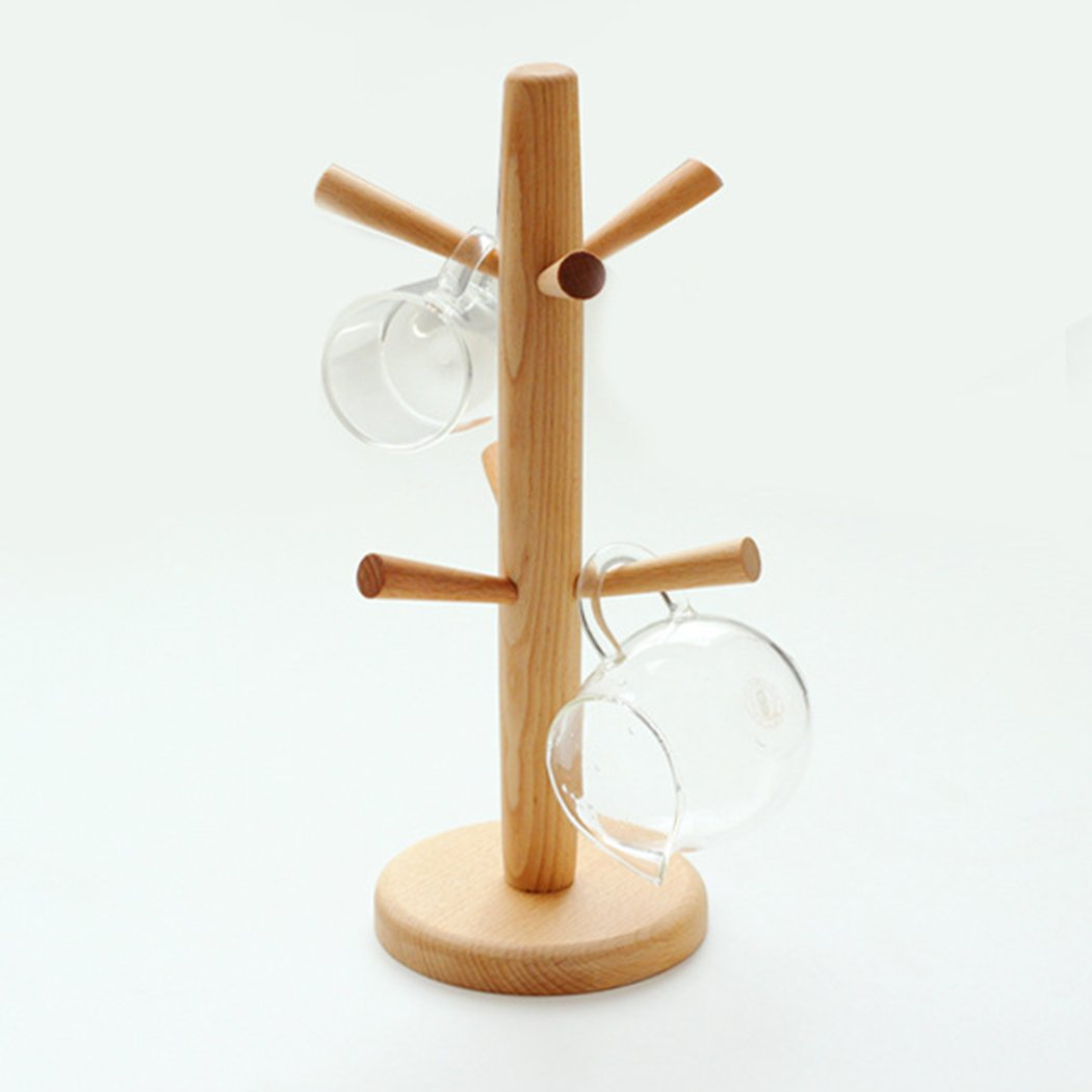 Cup Rack, Outgeek Removable Tree Shaped Wooden Mug Stand Coffee Cup Holder with 6 Hook R142600M4NCP346