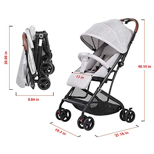 51jim6gLbHL - Lightweight Stroller, Baby Umbrella Strollers Foldable Compact Stroller For Travel, Convenience Stroller With Oversized Canopy/Easy One-Hand Fold/Extra-Large Storage (Gray)