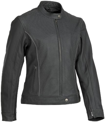 River Road Pearl (River Road Black Pearl Perforated Womens Leather Jacket , Gender: Womens, Apparel Material: Leather, Size: Lg, Primary Color: Black, Distinct Name: Black XF09-0795)