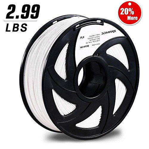3D Mars 3D Printing Filament, 1.75 mm PLA 3D Printer Filament, Dimensional Accuracy +/- 0.05mm,1.2KG Spool Filament PLA 3D Filament for Most 3D Printer & 3D Pen, White