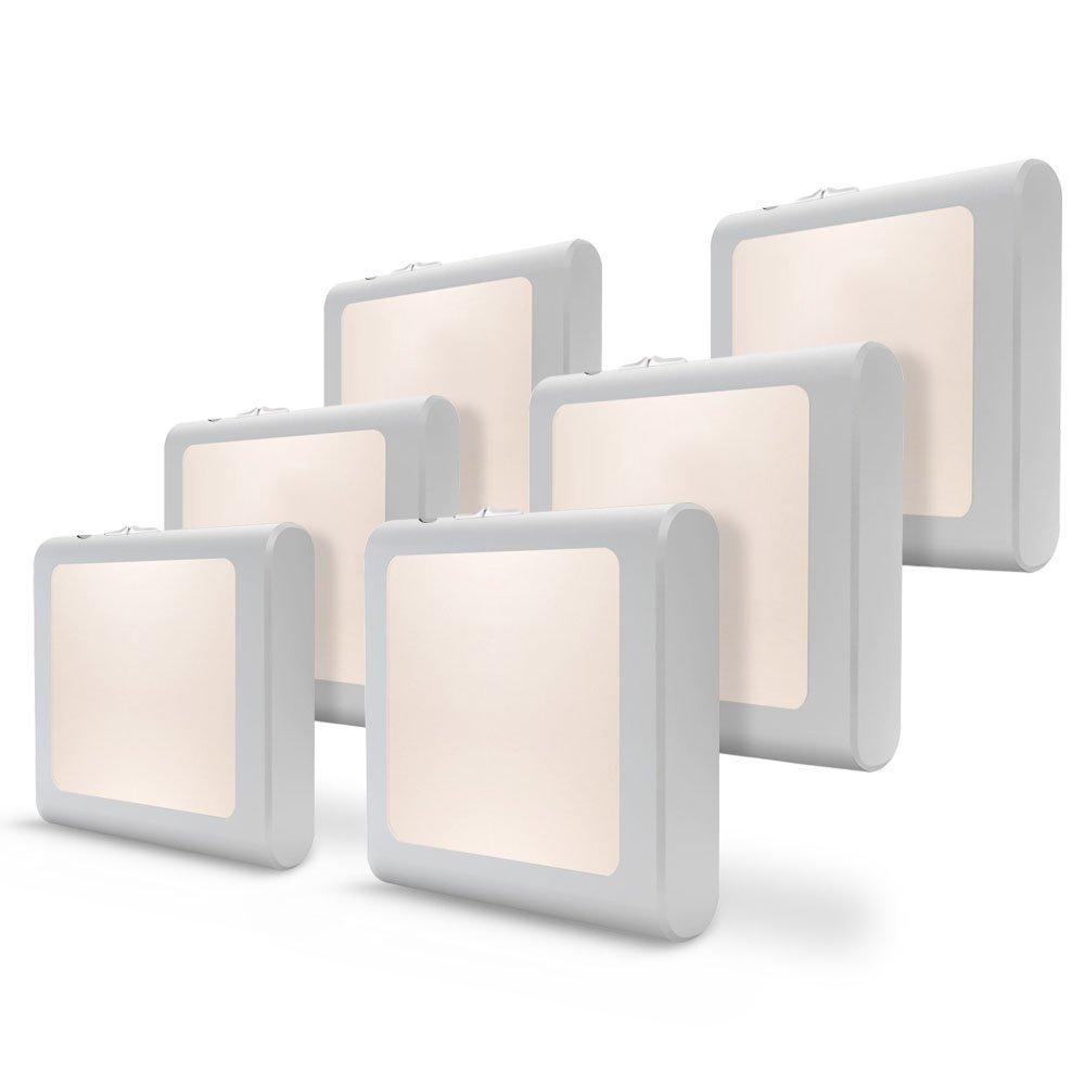 [6Pack] Vintar Plug-in Led Night Light with Auto Dusk to Dawn Sensor,Adjustable Brightness Warm White Lights for Hallway,Bedroom, Kids Room, Kitchen, Stairway,Bathroom