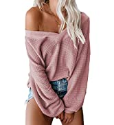 Asvivid Womens Off The Shoulder Sweater Batwing Sleeve Oversized Knit Pullover Sweater Tops…
