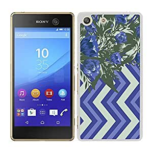 funda carcasa para Sony Xperia M5 estampado flores azul y verde borde blanco