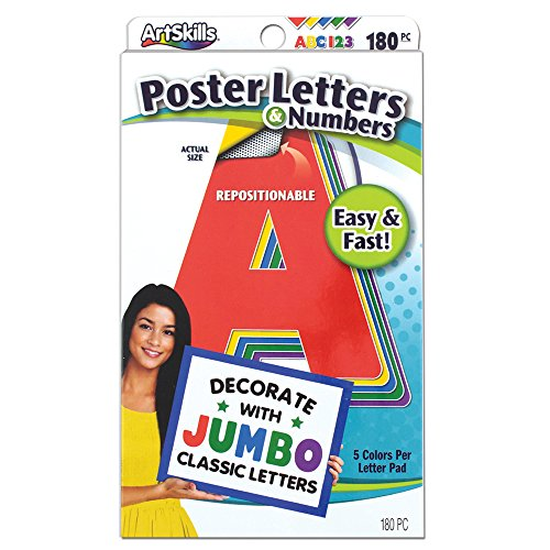 ArtSkills Jumbo Poster Letters and Numbers, A-Z and 0-9, Assorted, Classic Colors, 180-Count (PA-1454)]()