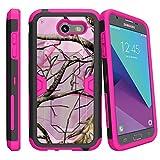 MINITURTLE Case Compatible w/ Case for [Samsung Galaxy J3 Emerge | J3 Prime | J3 Eclipse | Galaxy Luna Pro][ PINK MAX DEFENSE ] Hybrid Case w/ Slim Built in Stand Holster Pink Hunters Camo