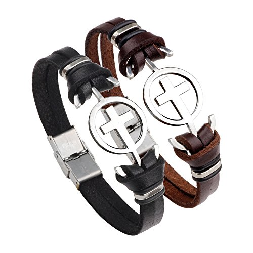 Bracelets Steel Section (Dunhuang AliExpress hot blast supply stainless steel cross section bracelet leather bracelet factory direct magnetic clasp)