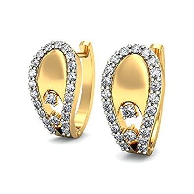 Belle Diamante 18KT Yellow Gold and Diamond Hoop Earring Women's Earrings at amazon