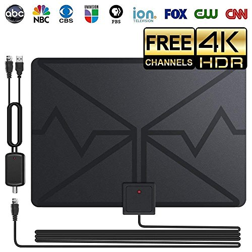 Professional Indoor TV Antenna,Freeview Best 100 Mile Longest Range HDTV Digital Antennas 4K HD VHF UHF Local Channels With Detachable Amplifier 16foot Coaxial Cable (2018 Upgraded Version) by Mexonga