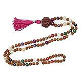 Mogul Chakra Mala Beads Necklace Japamala Buddhist Necklace Knotted 108