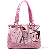 Realtree XG Camo Studded Tote Bag with Croco Trim and Buckle Accent