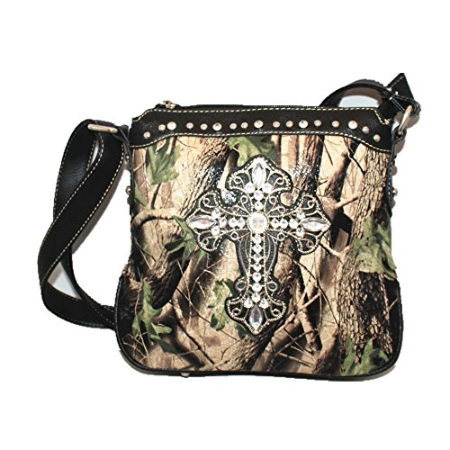 2015 Colors Buckle Handbag Rhinestone Walletin Concealed Concho kW03 Black Messenger Purse New Messenger Cross Optional Carry 3 Style Shoulder Leather Camouflage bag Bag and Black PrwPH