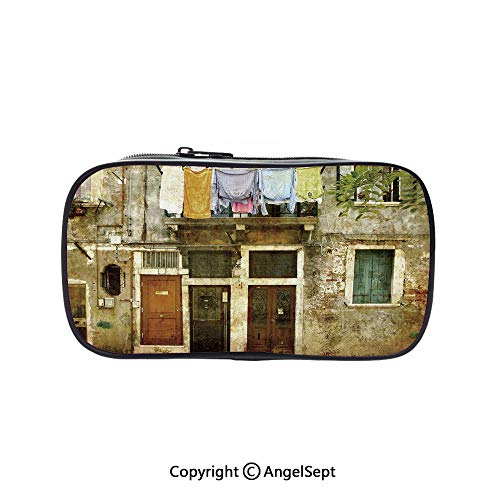 Two Big Pockets for Executive Fountain Pen,Old Weathered Building Facade with Hanged Clothes Murano Island Grunge Architecture Multicolor 5.1inches,Multi-Functional 72 Slots Colored Pencil Case