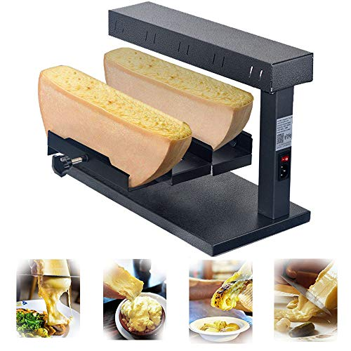 Li Bai Raclette Machine Commercial Cheese Melter Electric For 2 Pieces of Half Cheese Wheel Multi-Function Swiss Dish Maker 650W 110V Rapid Heating(750D)