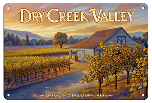 Pacifica Island Art 8in x 12in Tin Sign - Dry Creek Valley Wineries - Along Dry Creek Road by Kerne Erickson