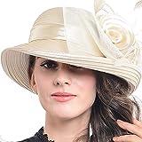 FORBUSITE Stripe Ribbon Asymmetry Church Derby Dress Hat S608 (Champagne)