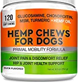 Pets Primal Hemp Hip & Joint Supplement for Dogs - Mobility Chews w/Glucosamine