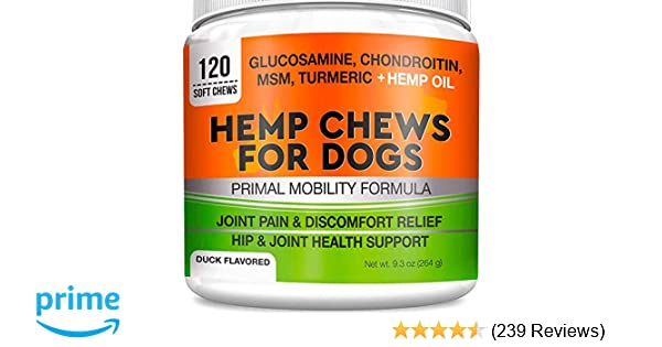Pets Primal Hemp Hip & Joint Supplement for Dogs - Mobility Chews  w/Glucosamine for Dogs - Joint Pain Relief - Reduce Inflammation -  w/Chondroitin,
