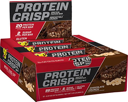 BSN Protein Crisp Bar by Syntha-6, Low Sugar Meal Replacement Protein Bar, Chocolate Crunch, 12 Count (Packaging may vary) (Chocolate Sugar Bar)