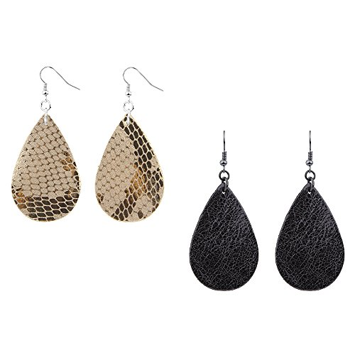Antique Drop Earrings - Teardrop Leather Earrings Soft and light Genuine Leather Teardrop Earrings Leaf Drop Earrings Antique Looking Various Colors 2 Pairs Pack for women