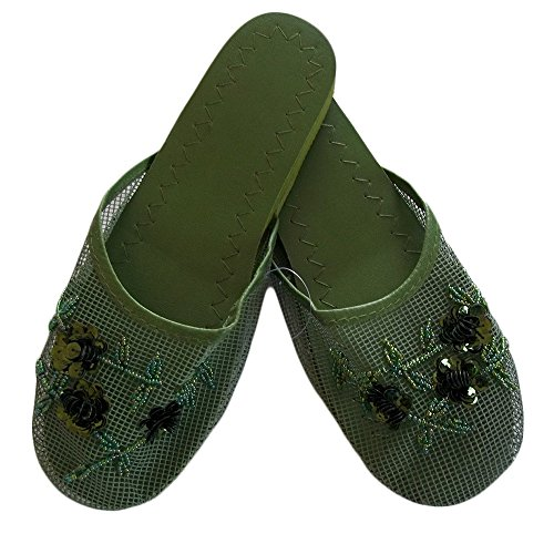 Women's Mesh Slippers with Sequin Available in 9 Colors (7, Dark Green)