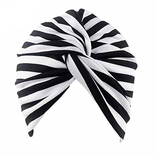 - Cotton Striped Beanie Turban Chemo Hat Head Wrap Cap Headwear for Cancer Patients (Black/White)