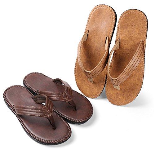 36d17643fe35 Galleon - Aerusi Men s Boy s Flip Flops Sandals Leisure Casual Braid Strap  Thongs Flat Beach Slippers Shoes