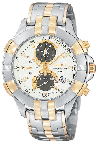 Seiko Men's SPC012 Retrograde Chronograph Two-Tone Watch