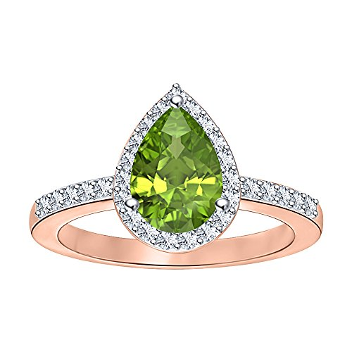 Pear Shaped Created Green Peridot & White ()