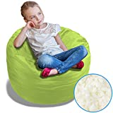 BeanBob Bean Bag Chair (Lime Green), 2.5ft - Bedroom Sitting Sack for Kids w/Super Soft Foam Filling