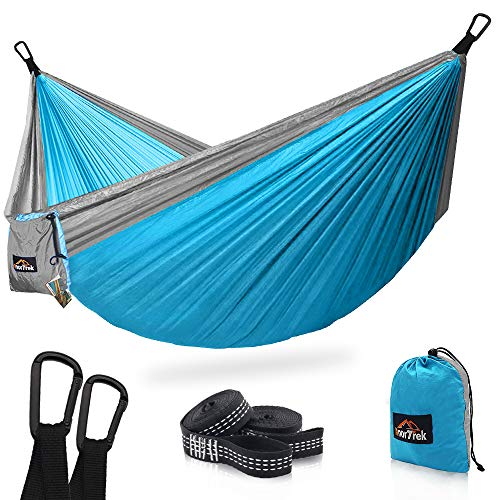 (AnorTrek Camping Hammock, Super Lightweight Portable Parachute Hammock with Two Tree Straps (Each Two Loops), Single & Double Nylon Hammock for Camping Backpacking Travel Hiking (Sky Blue&Gray) )