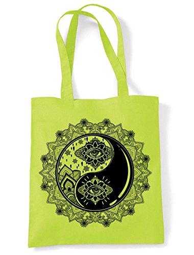 Yin and Yang Mandala Hipster Tattoo Large Print Tote Shoulder Shopping Bag (Lime Green) ()