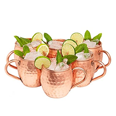 Kitchen Science Moscow Mule Copper Mugs Set of 4 (16oz) | Food Grade 100% Pure Copper Cups | Handcrafted w/ Lacquered…
