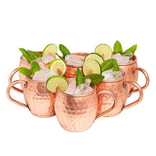 Kitchen Science Moscow Mule Hammered Copper 16 Ounce Drinking Mug, Set of 6 (6) by Kitchen Science (Image #2)