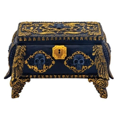 Gold and Black Skull Jewelry Holder Box Container with Mirror Inside