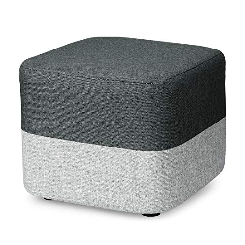 BILEEDA-Small-Foot-Stool-Short-Grey-Foot-Stools-and-Ottomans-with-Linen-Fabric-Washable-Cover-for-Foot-Rest-Square