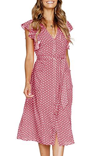 MITILLY Women's Summer Boho Polka Dot Sleeveless V Neck Swing Midi Dress with Pockets X-Large Pink