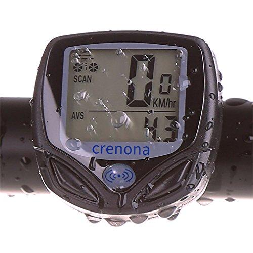 Crenova Wasserdichtes Wireless Fahradcomputer Fahrrad Odometer Speedometer mit automatischer Weckfunktion und LCD Rücklicht