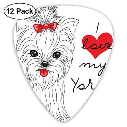 (Guitar Picks 12-Pack,Love My Yorkie Cute Terrier With Its Tounge Out Adorable Yorkshire Terrier)
