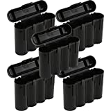 5 Brand New AA / AAA / CR123A Black Battery Holder Storage Cases