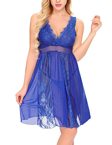 Ababoon Womens Sexy Long Lace Lingerie Nightdress Sheer Gown Chemise G-string, Blue, (Skirt Attached Panties)