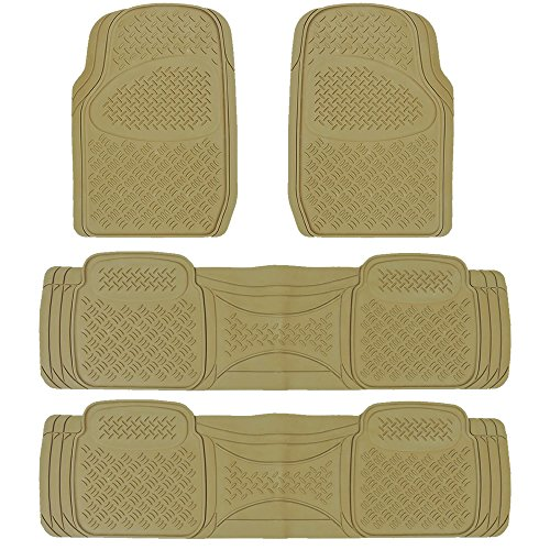 Heavy Duty MT-9024 Rubber Floor Mats U.A.A. Inc. Ⓡ Universal Car Truck SUV Van (Beige)