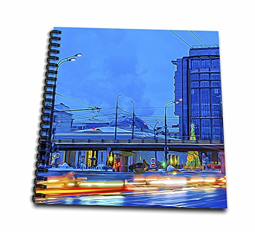 3dRose Alexis Photo-Art - Moscow City - Blue hour traffic along Garden Ring avenue of Moscow. Winter evening - Drawing Book 8 x 8 inch - Avenues Hours