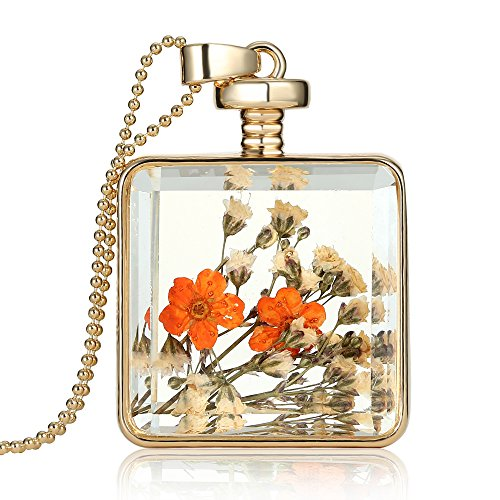 Dried Pressed Flower Pendant Necklace, Alloy Plating, 23.6