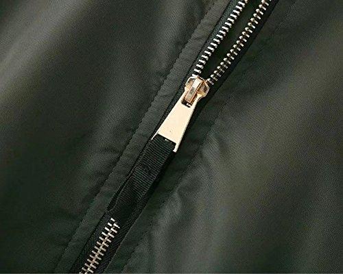 vert classique foncé Outwear de veste Penggeng glissière femmes motard blouson à fermeture Sweat à Vintage des manteau avec aviateur RwTqaxZHn8